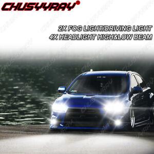 For Mitsubishi Lancer 2008-2015 Combo High&Low Beam LED Headlights + Fog Lights