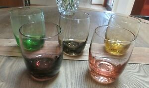 VINTAGE RETRO HARLEQUIN COLOURED GLASS TUMBLERS/GLASSES SET OF 5 GREAT SET GC