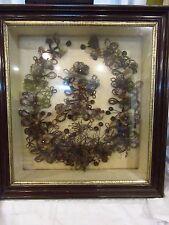 Victorian Hair Mourning Wreath- Shadow Box Art All original 24 x 22