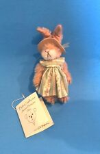"DEB CANHAM ""FLO BUNNY""  MINIATURE MOHAIR JOINTED BUNNY WEARING FLORAL DRESS/HAT"