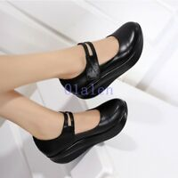 Women's Leather Mary Jane Pumps Round Toe Wedge Heel Nurse Wedge Shoes Plus Size