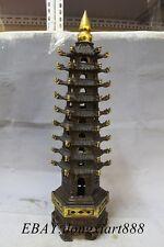 "23"" Tibet Bronze Gilt Buddhism WenChang Pagoda Stupa Auspicious Tower Statue"