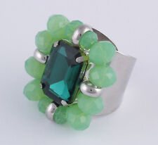 Ring Statement Strass Glasperlen sweet deluxe Ada silber grün Glasstein emerald