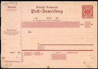 GERMANY REICHPOST 10 pfg POST ANWEISUNG  POSTCARD MINT STAINED LOWR MARGIN