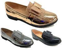 Women Loafer Brogues Ladies Metallic Gold Silver Black Shoes Summer Slip on Size