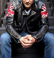 Mens Biker Cafe Racer Motorcycle Vintage Distressed Black Leather Jacket UK Flag