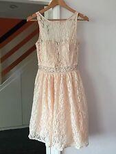 QUIZ Peach Lace Embellished Waist Prom Party Wedding Dress Size 14