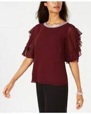MSK Embellished Ruffle-Sleeve Top Anchor Chili Size XL $69