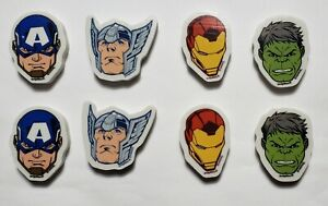 Lot of 8 Mini Marvel Thor Ironman Hulk Captain America Rubber Pencil Eraser