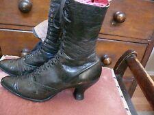 1890 Black Leather Lace-up Boots Classics Romantic 6