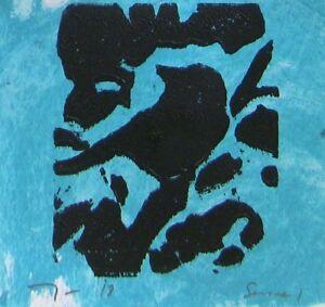 JOSE TRUJILLO Art Woodcut Print Relief Prints ORIGINAL Bird Art  - Series 1 COA