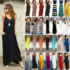 Women's Summer Sleeveless Maxi Dress Ladies Beach Holiday Casual Party Sundress