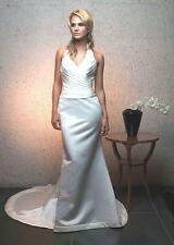 CASABLANCA $1099 12 CHAMPAGNE SATIN ORGANZA HALTER FIT FLARE WEDDING DRESS GOWN