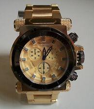 Designer Big Heavy Gold Finish Elegant Fashion Inspired Rapper Style   Watch