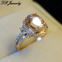 14K ROSE GOLD HALO1.86CT OVAL CUT MORGANITE PAVE MOISSNAITE ENGAGEMENT RING
