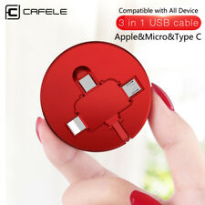 3 in 1 Retractable Apple & Micro & Type C USB Charger Cable 1M Data Sync Cord