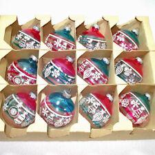 Box Shiny Brite Unsilvered Stenciled Glass Christmas War Ornaments