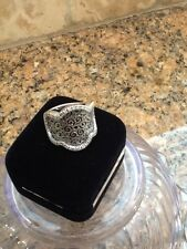 DIAMOND RING 1 CT MESH BLACK & WHITE 14 KT GOLD ITALY G-H SI2-7.1 GRAMS SIZE 7