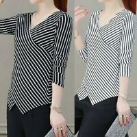 Blouse Ladies Long Sleeved Irregularity Shirt With V-Neck Stripe Shirt New