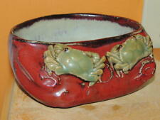 "Chinese Mud Man Men pot 7.5""x6"" oxblood celadon crab crabs bonsai Mudman Antique"