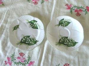 """SHELLEY SHELLY ENGLAND """"LILY OF THE VALLEY""""  PLATE AND SAUCER FOR TRIO SET"""