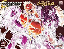 AMAZING SPIDERMAN 19 CHAMPIONS 1 VENOM BLACK CAT MJ RAMOS NYCC NEGATIVE VARIANT