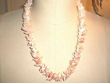 "Vintage POLISHED CHIP SEASHELL LEI NECKLACE 20"", Angel skin to Pale Coral color"