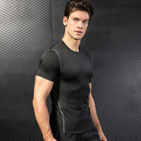 Men's Sports Compression Shirt Athletic Workout Tee Short Sleeve O-Neck Dri fit