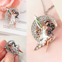 Jewelry Gift For Women Rose Quartz Colorful Crystal Angel Pendant Necklace