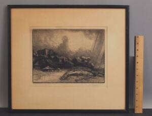 Antique Signed ALPHONSE LEGROS French Farm at the Monastery Etching Print NR