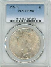 1934-D Peace Silver $1, MS 63 - PCGS