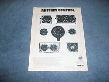 "1973 RAC Gauges and Tachometers Vintage Ad ""Mission Control"""