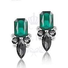 Green & Grey Crystal Stud Earrings Jewellery Birthday Wedding Gift UK Seller E14