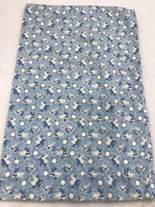 Traditions Pamela Kline Blue Bunny Print Flannel Pillowcase Baby Rabbit VTG
