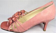 AEROSOLES Womens Shoes Pump Heel Sandals Pink Suede Slip-on US 8 Floral Mint