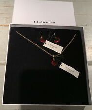 New WT, Box, L.K.Bennett Red Swarovski Crystal Necklace / Earring Jewellery Set