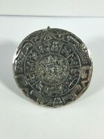 Vintage Sterling Silver Brooch Round Pendant Taxco Mayan Calendar Tribal Etched