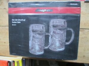 SNAP ON SET OF TWO ONE LITRE CUSTOM STEIN GLASSES BOXED , SEALED AND UNOPENED