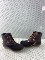 NWB Sperry Top-Sider SALTWATER Brown Leather/Rubber Rain Boots Women's Size 7 M