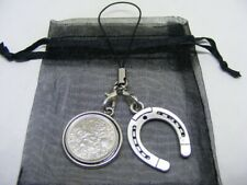 1967 Lucky Sixpence & Horseshoe Phone / Bag Charm - Nice Birthday Gift