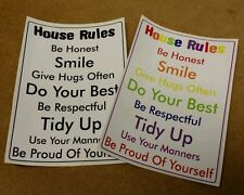House Rules Printed Wall Sticker Fun Novelty