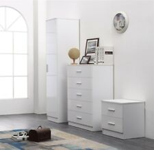 REFLECT High Gloss White / White 3 Piece Bedroom Furniture Plain Set Soft Close