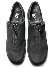 Ecco Men's Black Suede Leather Zip Up Loafers Size-41