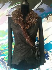 1990s Vintage Wrap Cardigan Jacket - Faux Fur Suede Knit - Brown/Black - S/8/10