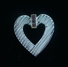 Tiffany & Co. Sterling Silver Yellow Gold Ruby Heart Brooch