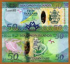 Solomon Islands, $50, ND (2013), Pick New Hybrid Polymer UNC > Lizards