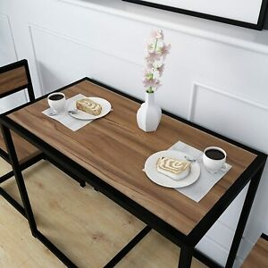 3 Piece Tuck In Chair And Table Dining Set Wooden Brown Space Saver Dining Set