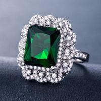 Gorgeous Princess Cut Emerald Women 925 Silver Jewelry Wedding Ring Size 6-10