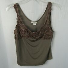 FashQue Camisole Women's L Size Brown W/Lace Cotton Tank Top