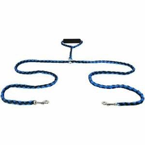 Twin Dog Lead With Strong Handle 2 Way Double Pet Leash Walk Two Dogs Blue